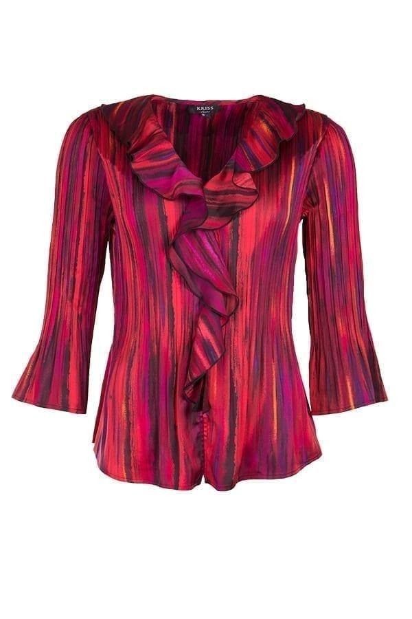 Blus Olivia Klassisk blusmodell i ett print av abstrakta ränder i färgerna rött och lila. Blusen är helt genomknäppt med en V-ringad halsringning.